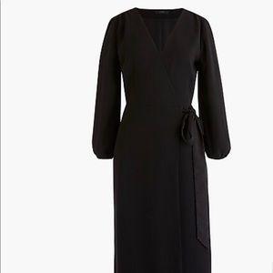 NWT J CREW WRAP DRESS BLACK SIZE 0